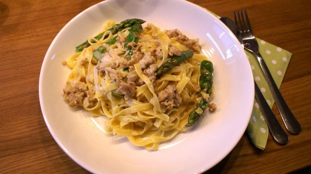 Pasta Carbonara med kyllingkjøttdeig