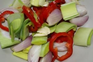 Purre, paprika, sjalottløk og hvitløk