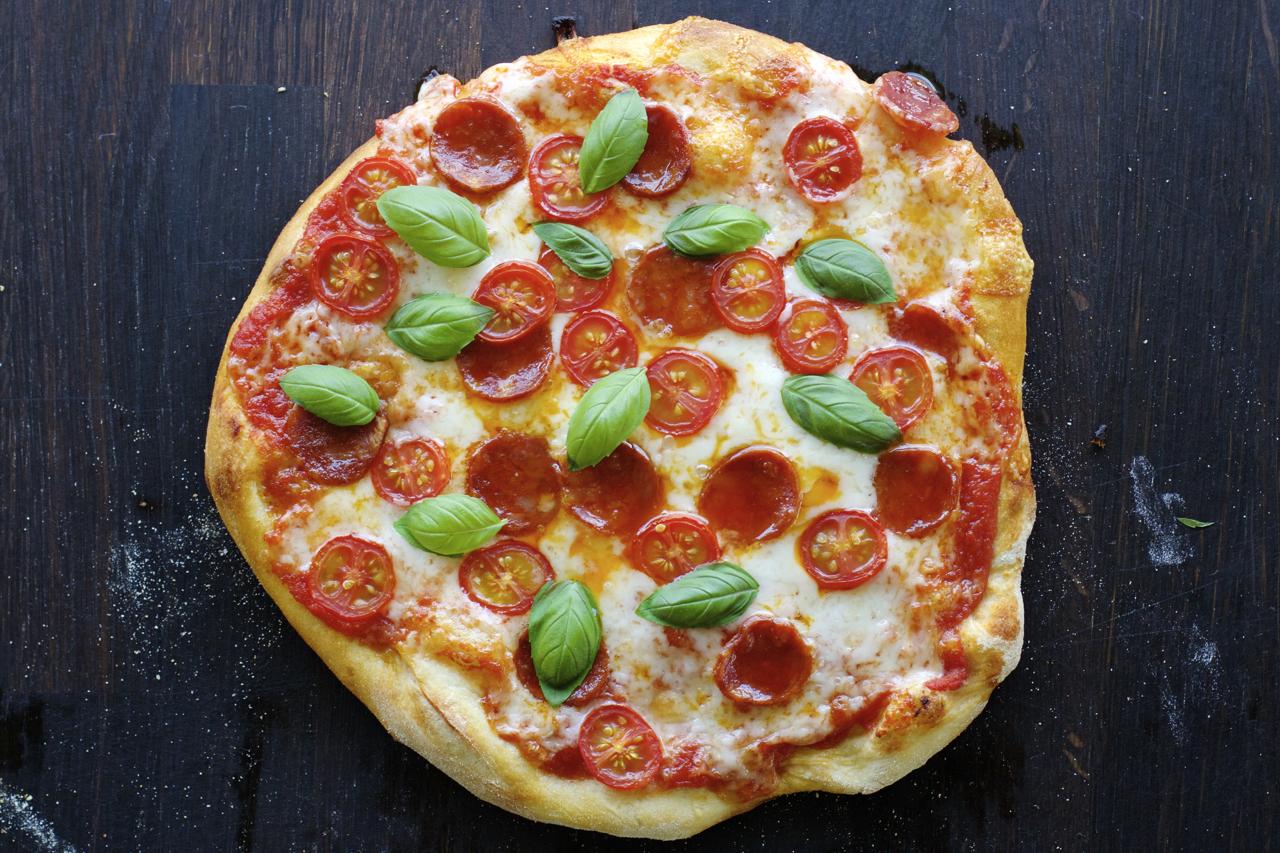 Pizza med kvitlin og chorizo